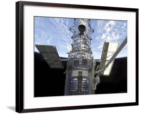 Astronauts Participate in Extravehicular Activity on the Hubble Space Telescope-Stocktrek Images-Framed Art Print