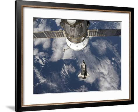 Space Shuttle Endeavour Backdropped by a Blue and White Earth-Stocktrek Images-Framed Art Print