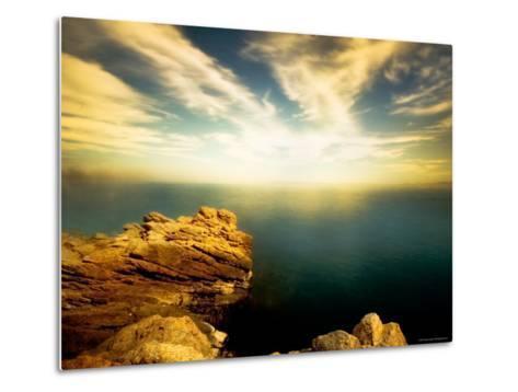Sunlight Reflecting off Blue Waters off Cliffside-Jan Lakey-Metal Print