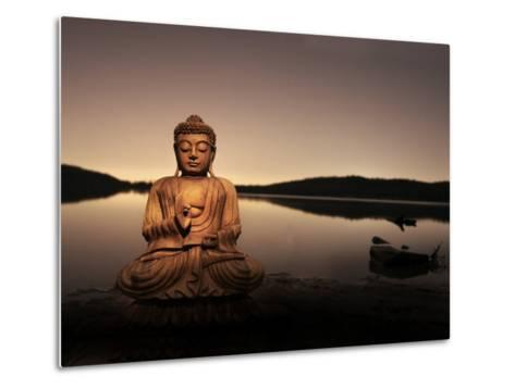 Golden Buddha Lakeside-Jan Lakey-Metal Print
