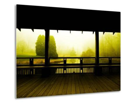 Covered Deck Looking onto Peaceful River and Fog-Jan Lakey-Metal Print