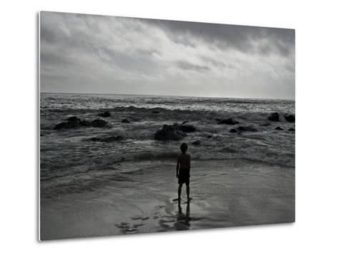 Child Standing at the Edge of Tide-Krzysztof Rost-Metal Print