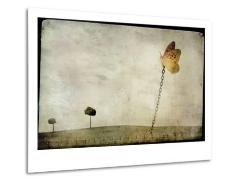Oversized Butterfly Chained to Ground-Mia Friedrich-Metal Print