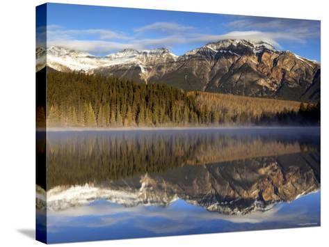 Pyramid Lake, Jasper National Park, Alberta, Canada-Walter Bibikow-Stretched Canvas Print