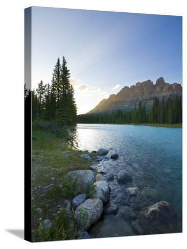 Castle Mountain and Bow River, Banff National Park, Alberta, Canada-Michele Falzone-Stretched Canvas Print