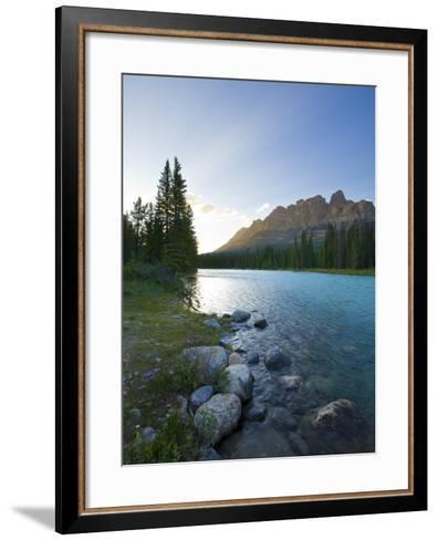 Castle Mountain and Bow River, Banff National Park, Alberta, Canada-Michele Falzone-Framed Art Print