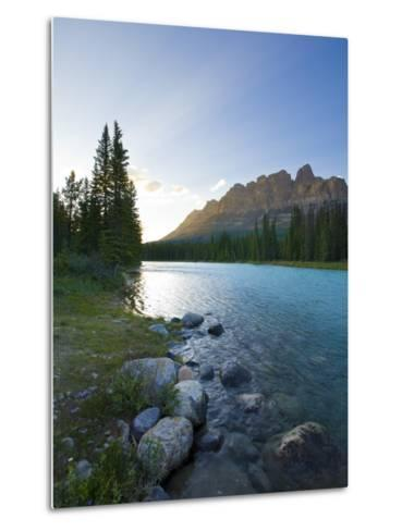 Castle Mountain and Bow River, Banff National Park, Alberta, Canada-Michele Falzone-Metal Print