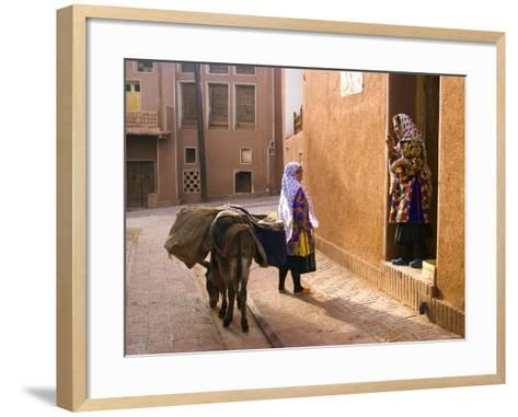 Woman and Her Donkey, Abyaneh Near Kashan, Isfahan Province, Iran-Michele Falzone-Framed Art Print