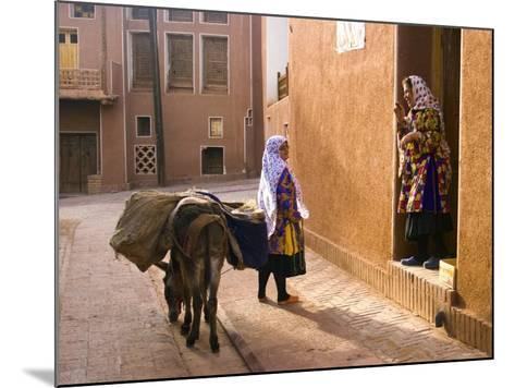 Woman and Her Donkey, Abyaneh Near Kashan, Isfahan Province, Iran-Michele Falzone-Mounted Photographic Print