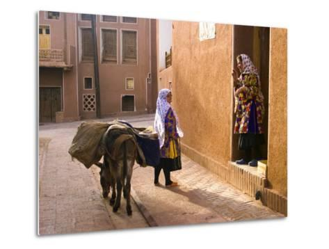 Woman and Her Donkey, Abyaneh Near Kashan, Isfahan Province, Iran-Michele Falzone-Metal Print