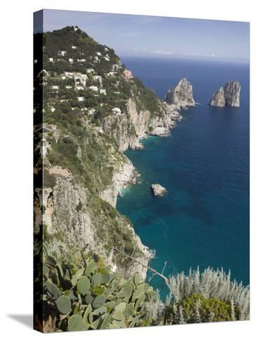 Faraglioni Rocks, Capri, Campania, Italy-Walter Bibikow-Stretched Canvas Print