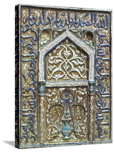 Single Tile Mihrab from a Tomb in Lustre and Cobalt Blue, c.1300-25--Stretched Canvas Print