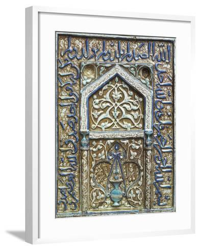 Single Tile Mihrab from a Tomb in Lustre and Cobalt Blue, c.1300-25--Framed Art Print