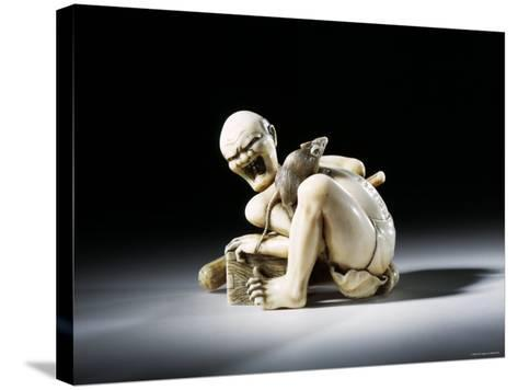 Netsuke Figure of the Thwarted Rat Catcher in Carved Ivory, 19th Century--Stretched Canvas Print