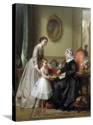 Three Women in a Parlor Room, A Young Girl Offers Fruit to an Elderly Woman, 19th Century-Josef Laurens Dyckmans-Stretched Canvas Print