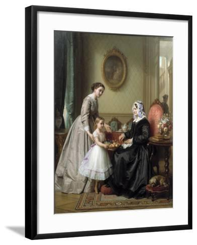 Three Women in a Parlor Room, A Young Girl Offers Fruit to an Elderly Woman, 19th Century-Josef Laurens Dyckmans-Framed Art Print