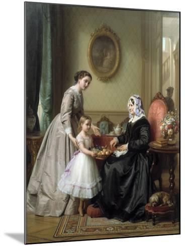 Three Women in a Parlor Room, A Young Girl Offers Fruit to an Elderly Woman, 19th Century-Josef Laurens Dyckmans-Mounted Giclee Print