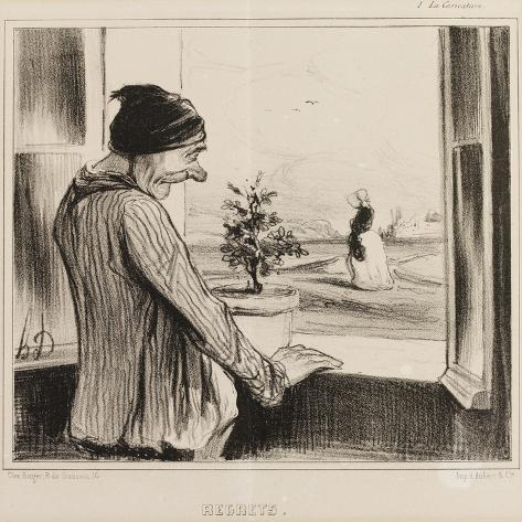 Regret-Honore Daumier-Stretched Canvas Print