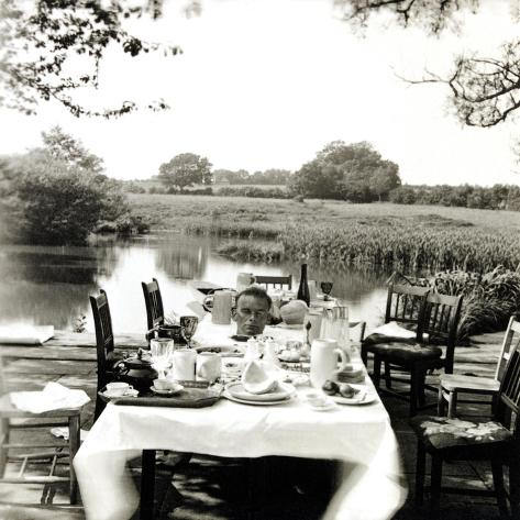Outdoor Table Setting with Man's Head-Curtis Moffat-Stretched Canvas Print