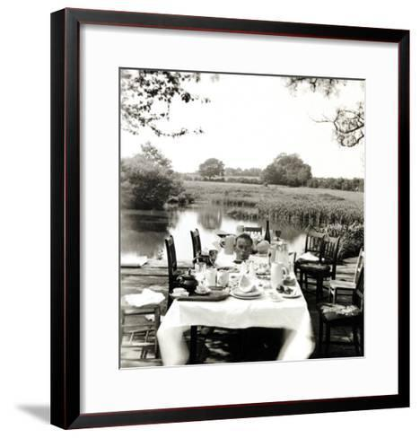 Outdoor Table Setting with Man's Head-Curtis Moffat-Framed Art Print
