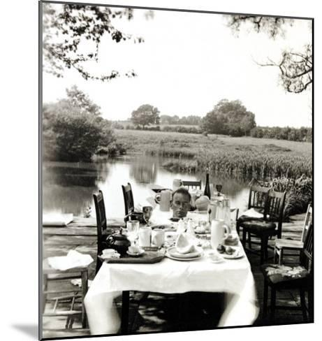 Outdoor Table Setting with Man's Head-Curtis Moffat-Mounted Giclee Print