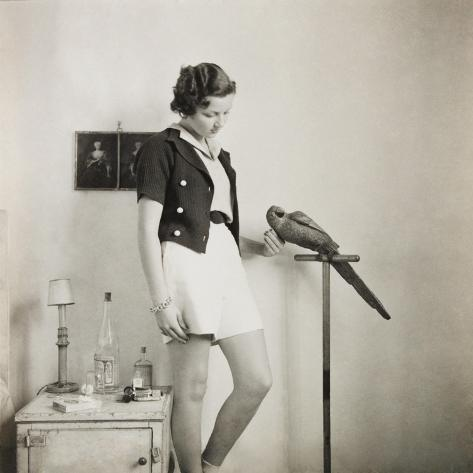 Figure Study with Parrot-Curtis Moffat-Stretched Canvas Print