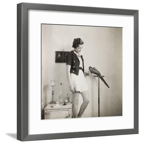 Figure Study with Parrot-Curtis Moffat-Framed Art Print