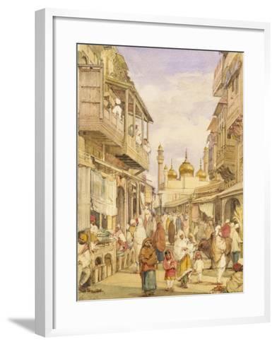 Crowded Street Scene in Lahore, India-William Carpenter-Framed Art Print