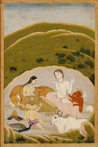 Siva and Parvati with Their Children on Mount Kailasa, India c.1745--Stretched Canvas Print
