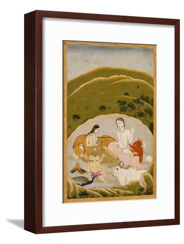 Siva and Parvati with Their Children on Mount Kailasa, India c.1745--Framed Art Print