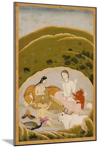 Siva and Parvati with Their Children on Mount Kailasa, India c.1745--Mounted Giclee Print