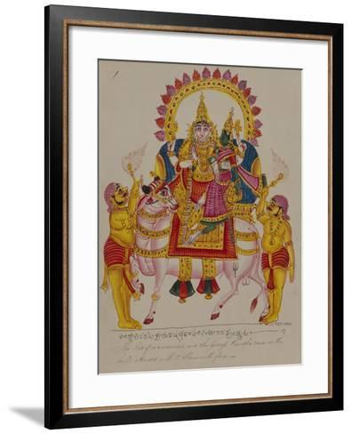Shiva and Parvati on the Bull Nandi, India--Framed Art Print