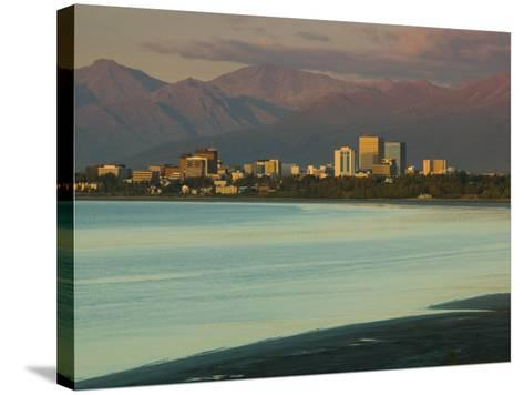Skyline at Sunset from Point Woronzoff, Anchorage, Alaska-Walter Bibikow-Stretched Canvas Print