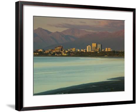 Skyline at Sunset from Point Woronzoff, Anchorage, Alaska-Walter Bibikow-Framed Art Print