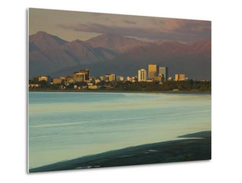 Skyline at Sunset from Point Woronzoff, Anchorage, Alaska-Walter Bibikow-Metal Print