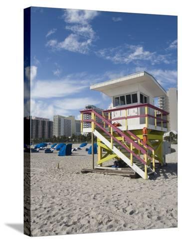 Beach Lifeguard Tower, South Beach, Miami, Florida-Walter Bibikow-Stretched Canvas Print