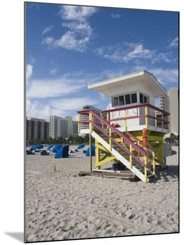 Beach Lifeguard Tower, South Beach, Miami, Florida-Walter Bibikow-Mounted Photographic Print