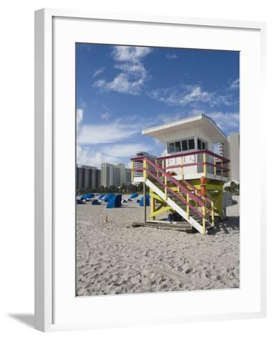 Beach Lifeguard Tower, South Beach, Miami, Florida-Walter Bibikow-Framed Art Print