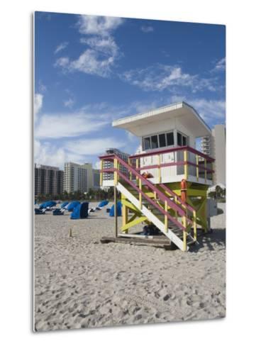 Beach Lifeguard Tower, South Beach, Miami, Florida-Walter Bibikow-Metal Print