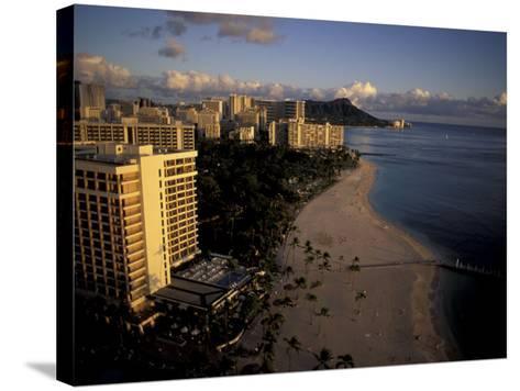 Honolulu Beach and Diamond Head, Oahu Hawaii-Randa Bishop-Stretched Canvas Print