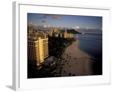 Honolulu Beach and Diamond Head, Oahu Hawaii-Randa Bishop-Framed Art Print