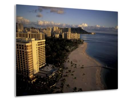 Honolulu Beach and Diamond Head, Oahu Hawaii-Randa Bishop-Metal Print