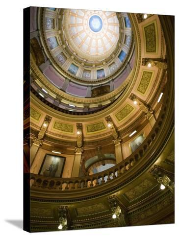 Interior of the Dome, State Capitol, Lansing, Michigan-Walter Bibikow-Stretched Canvas Print
