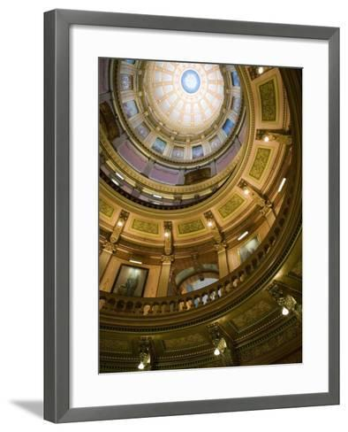 Interior of the Dome, State Capitol, Lansing, Michigan-Walter Bibikow-Framed Art Print