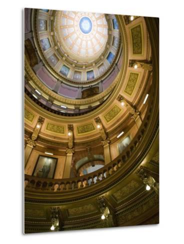 Interior of the Dome, State Capitol, Lansing, Michigan-Walter Bibikow-Metal Print