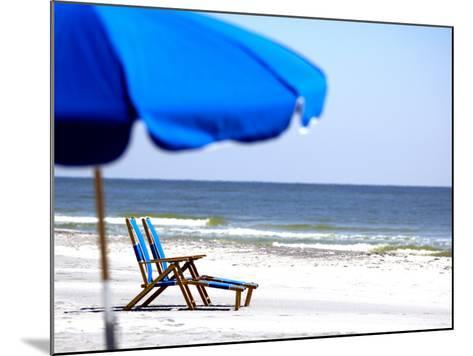 Beach Chairs and Umbrella, Ship Island, Gulf Islands National Seashore, Mississippi-Franklin Viola-Mounted Photographic Print
