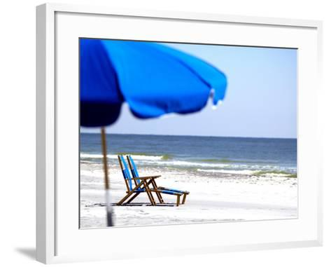 Beach Chairs and Umbrella, Ship Island, Gulf Islands National Seashore, Mississippi-Franklin Viola-Framed Art Print