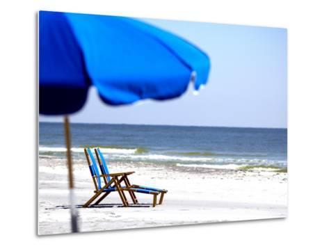 Beach Chairs and Umbrella, Ship Island, Gulf Islands National Seashore, Mississippi-Franklin Viola-Metal Print
