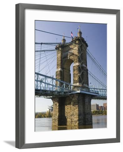 Roebling Suspension Bridge Over the Ohio River, Cincinnati, Ohio-Walter Bibikow-Framed Art Print