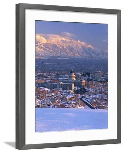 Utah State Capitol with the Wasatch Mountains, Salt Lake City, Utah-Scott T^ Smith-Framed Art Print
